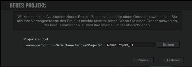 Axis Neues Projekt