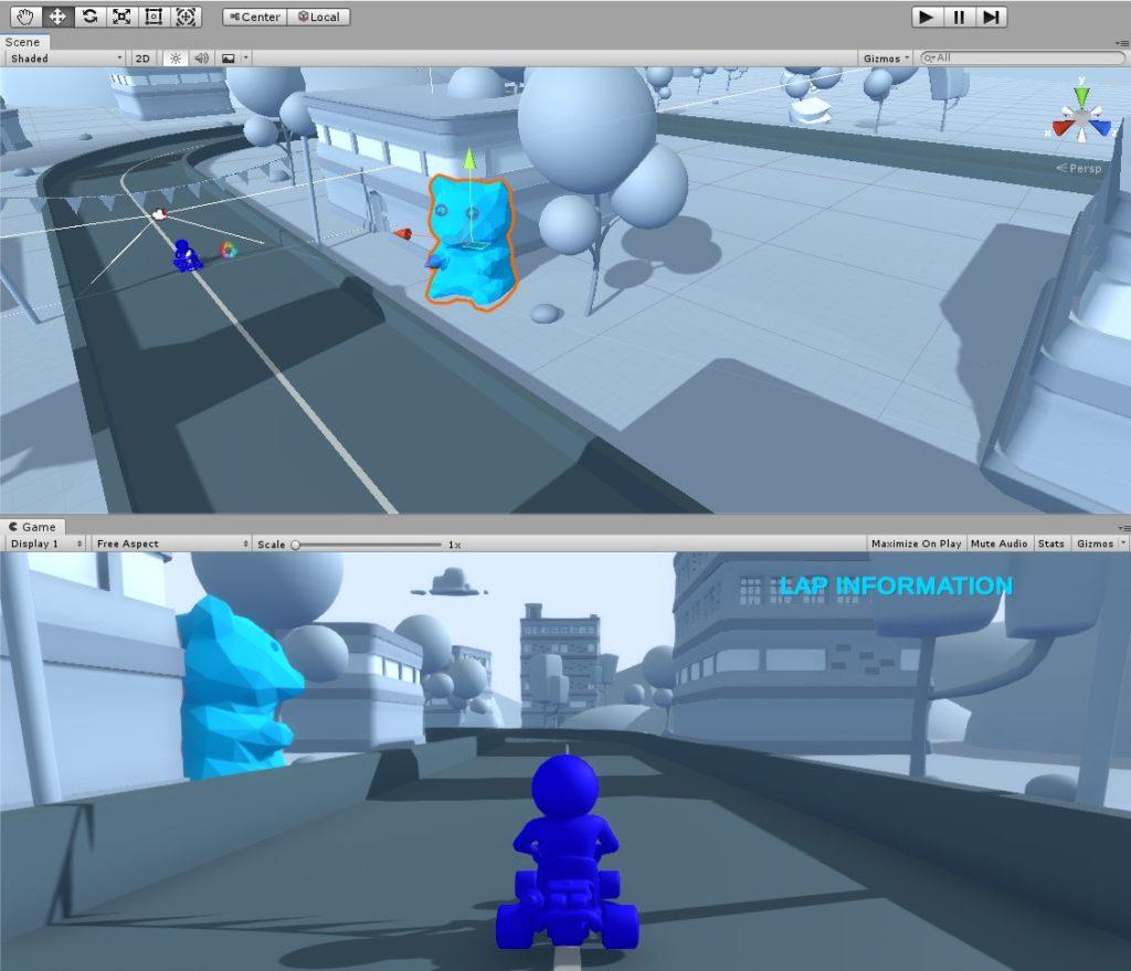 Unity Szenenbild mit Gummibärchen
