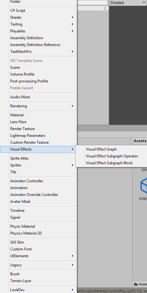 Erstellen eines Visual Effect Graph Assets1