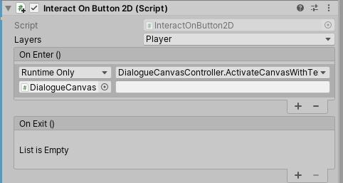 Interact on Button 2D Dialogue